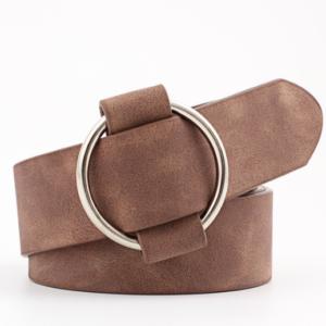 Женский кожаный ремень коричневого цвета с регулируемой пряжкой