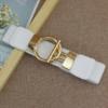 Пояс резинка белого цвета с золотой застежкой кольцом