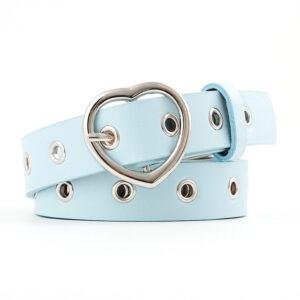 Бирюзовый кожаный ремень с металлической пряжкой сердечком
