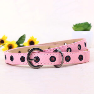 Детский ремень для девочки из экокожи розового цвета