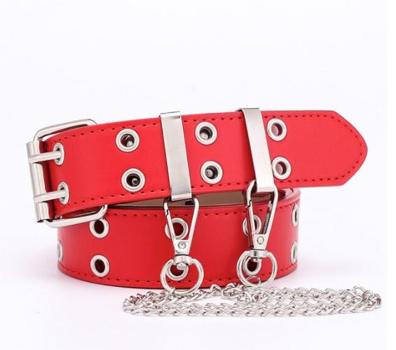Женский кожаный ремень в стиле панк красный