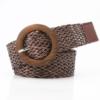 Плетеный соломенный ремень темно коричневого цвета
