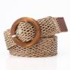 Плетеный соломенный ремень светло-коричневого цвета