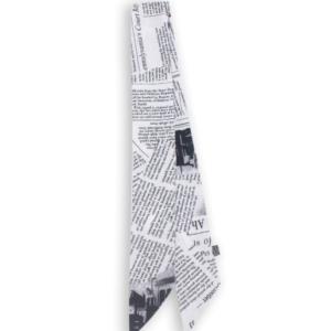 Шарф-лента газетный принт белый