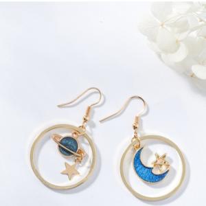 Серьги круглые, ассиметричные с синей Лунной