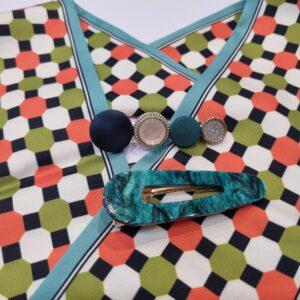 Заколки акриловые  для волос Зеленые (набор -2 шт)