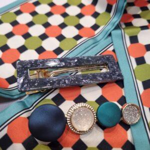 Заколки акриловые  для волос Темно-синее (набор -2 шт.)