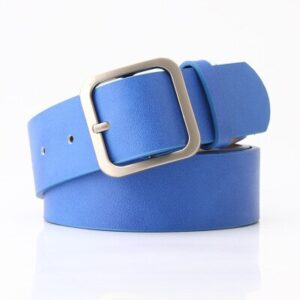Женский голубой ремень с квадратной пряжкой