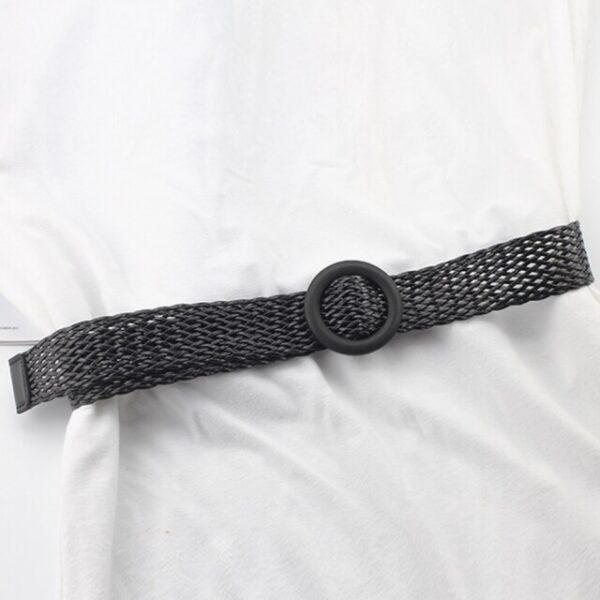Плетеный соломенный ремень черного цвета